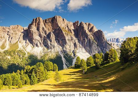 Great view on the Pizes de Cir ridge, valley Gardena. National Park Dolomites, South Tyrol. Location village Ortisei, S. Cristina and Selva Gardena, Italy, Europe. Dramatic unusual scene. Beauty world