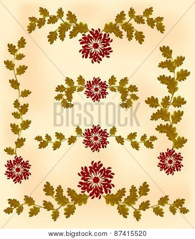 Vintage vignette of red flowers and leaves