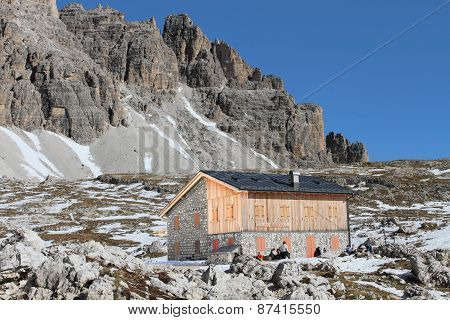 Dolomites and alpine hut Refugio Lavaredo