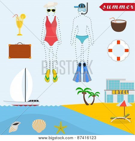Flat design style vector illustration concept of summer vacation, traveling, tourism, journey, recre