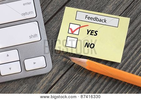 feedback form showing yes
