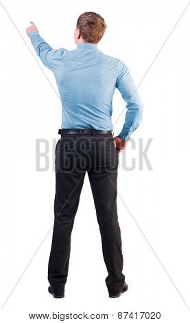 Back view pointing young business men in  red shirt. Rear view people collection.  backside view person. Isolated over white background. businessman with sports figure demanded indicates something