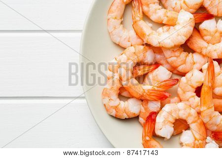 the tasty prawns on plate