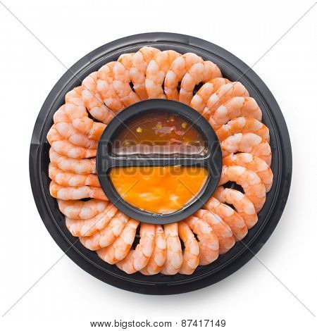 prawns with sauce on white background