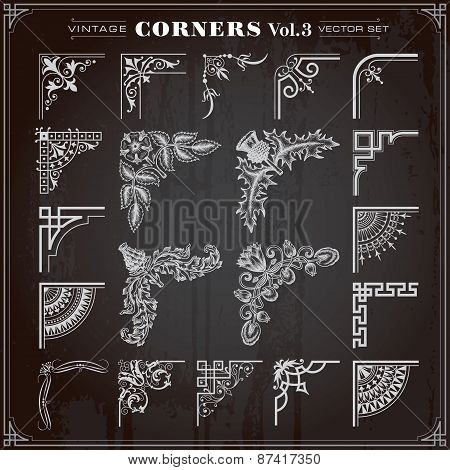 Vintage Design Elements Corners And Borders Set 3