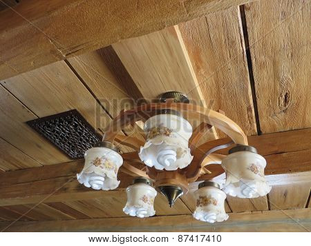 Ceiling light on wooden beams