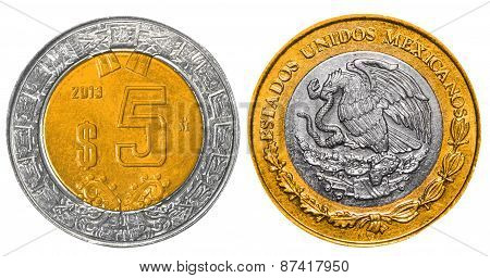 5 Mexican Pesos back and front