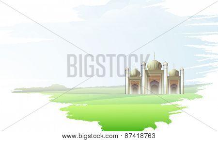 Illustration of islamic mosque on colorful splash background for holy month of muslim community, Ramadan Kareem celebration.