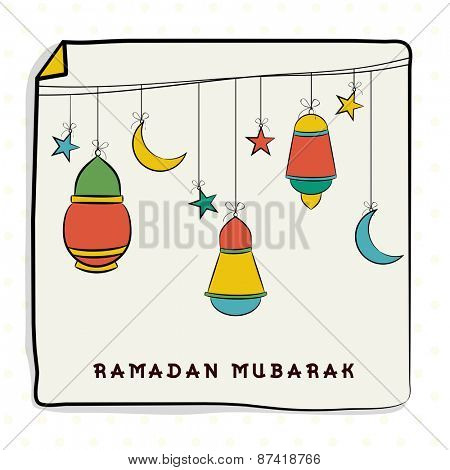 Islamic holy month of prayers, Ramadan Kareem celebrations with colourful hanging lanterns, moon and stars on beige background.