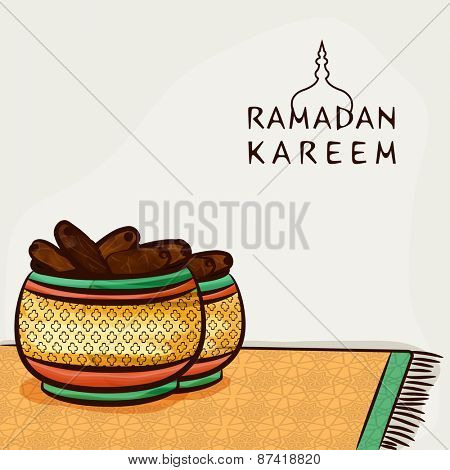 Islamic holy month of prayers, Ramadan Kareem celebrations concept with Iftar Party, Dates.