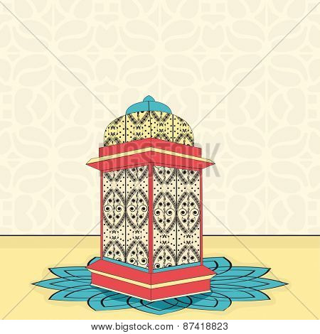 Beautiful intricate arabic lantern on floral decorated background for Islamic holy month of prayers, Ramadan Kareem celebrations.