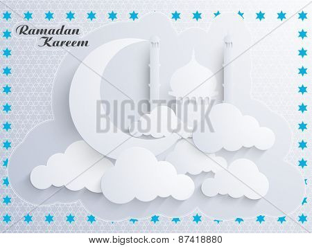 Beautiful greeting card with islamic mosque, moon and clouds for holy month of muslim community, Ramadan Kareem celebration.