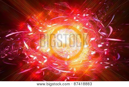 Abstract symbol in the form of fiery all-seeing eye.Fractal art graphics
