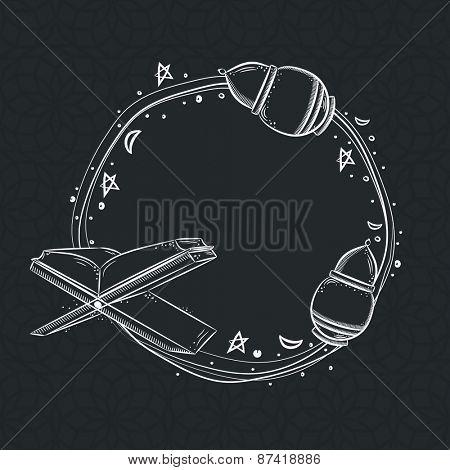 Beautiful round frame design decorated with Islamic Religious Book Quran Shareef, Lanterns and flowers on greyish black background.