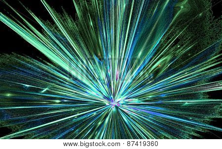 Shining a fantastic radial blast blue tint.Fractal art graphics