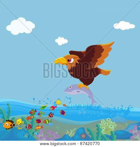 Bird of prey fishing