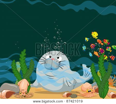 otter is under a sea water