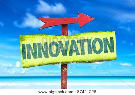 Innovation sign with beach background