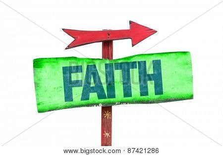 Faith sign isolated on white