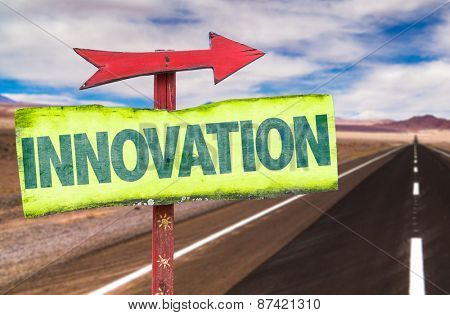 Innovation sign with road background