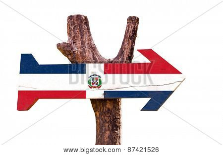 Dominican Republic Flag wooden sign isolated on white background