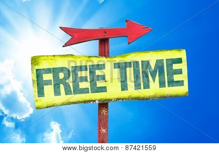 Free Time sign with sky background