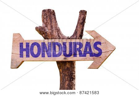 Honduras wooden sign isolated on white background