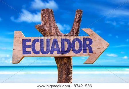 Ecuador wooden sign with beach background
