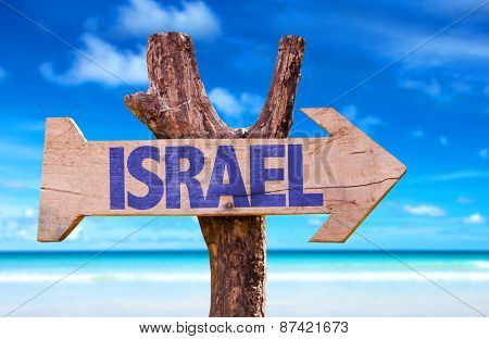 Israel wooden sign with beach background