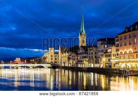 Zurich at night in Switzerland