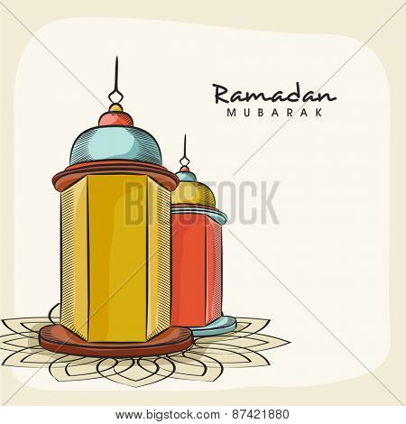 Illuminated arabic lanterns on floral decorated beige background for Islamic holy month of prayers, Ramadan Mubarak celebrations.