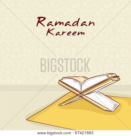 Open Islamic Religious holy book Ramadan Kareem for Muslim's holy month of prayers of Ramadan Kareem celebrations.