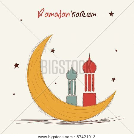 Holy month of muslim community, Ramadan Kareem celebration greeting card with colorful moon and islamic mosque on stars decorated background.