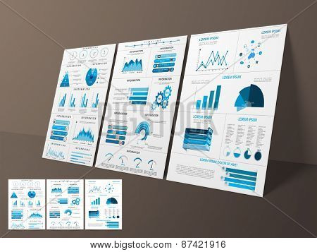Business Infographic template layout with statistical bars, graphs and pie chart for corporate sector.