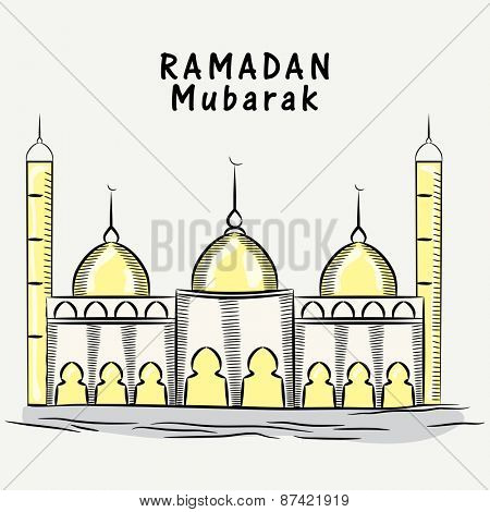 Illustration of a mosque on grey background, concept for Islamic holy month of prayers, Ramadan Mubarak celebrations.