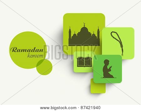 Sticker, tag or label with islamic elements for holy month of muslim community, Ramadan Kareem celebration