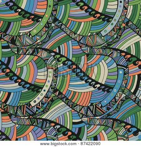 Vintage wave line and curl Hand-drawn abstract colorful vector pattern