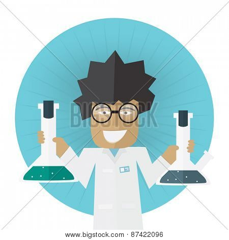 Scientist or doctor holding flask in hands Vector illustration Laboratory research concept