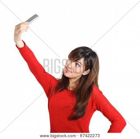 Asian Girl Taking A Selfie With Her Phone