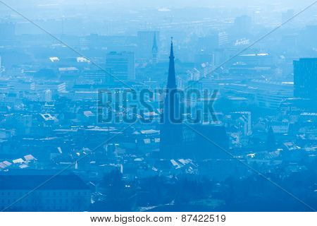 skyline with new cathedral of staddt linz, austria