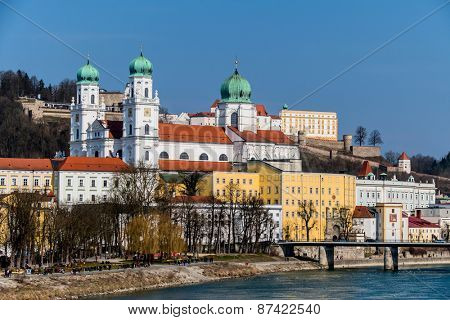 view of the city of passau in bavaria. here are attributed to the inn, the danube and the ilz together.