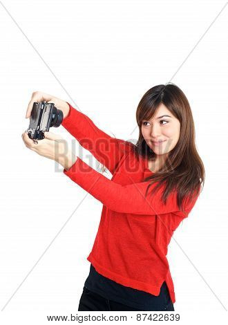 Asian Girl Taking A Selfie With Compact Camera
