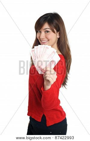 Asian Girl Holding A Few Bills Of Chinese Money