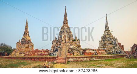 Three stupas in Wat Phra Si Sanphet. Ayutthaya historical park. Panorama