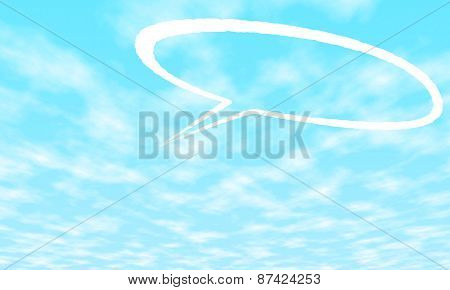 Cartoon speech and thought bubbles on blue sky background