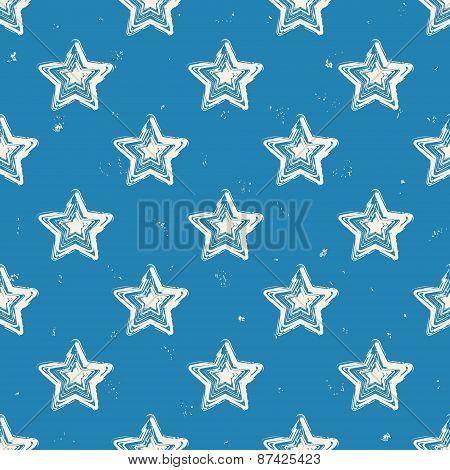 Stars On Blue Background. Grunge Seamless Textured Polka Dots Pattern