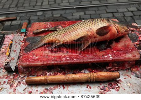 Fresh killed carp (Cyprinus carpio) on sale as a traditional Czech Christmas meal in Prague, Czech Republic.
