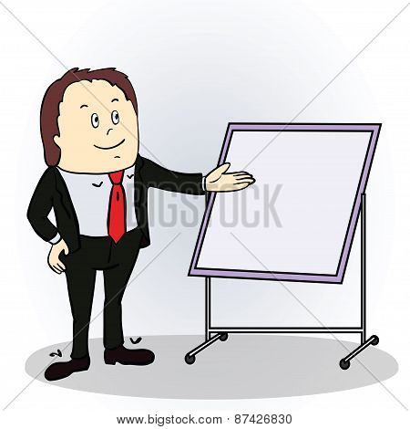 Illustration of a color cartoon character. Friendly businessman pointing to blank billboard