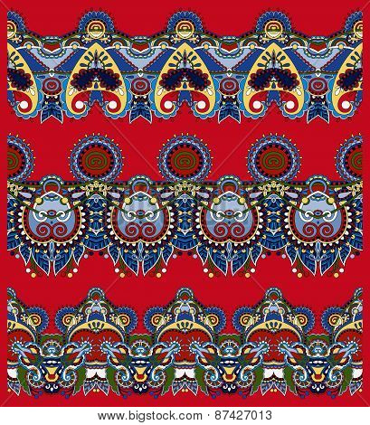 red seamless ethnic floral paisley stripe pattern