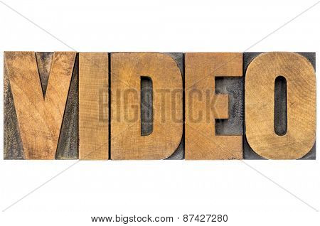video word - isolated text in letterpress wood type